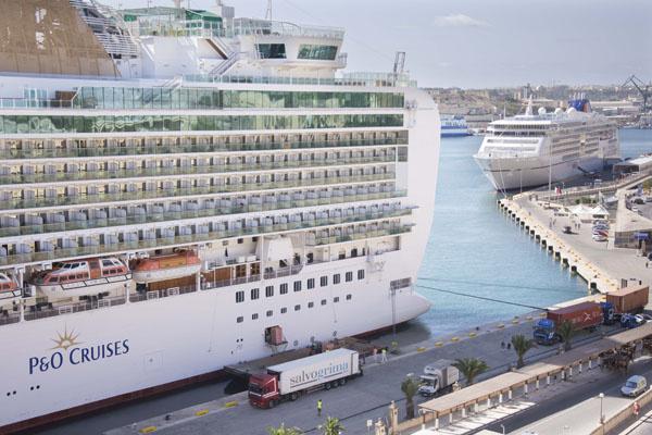 Cruise ship in Valletta harbour